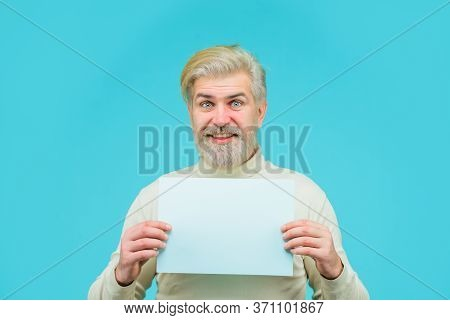 Insert Your Text. Sale. Discount. Advertising Banner. Man With Blank Board. Man Holds Empty Board. B