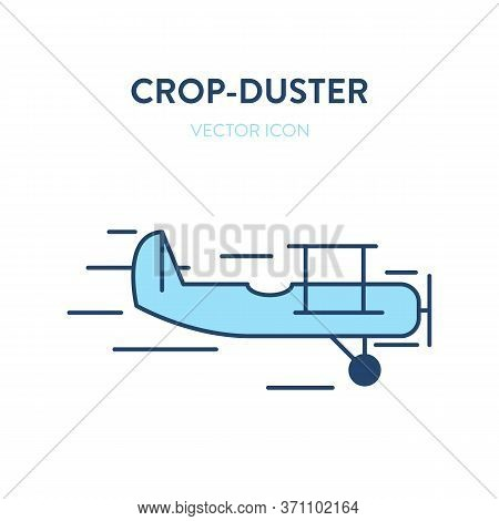 Crop Duster Plane Icon. Vector Flat Outline Illustration Of A Small Plane, Crop Duster. Represents A