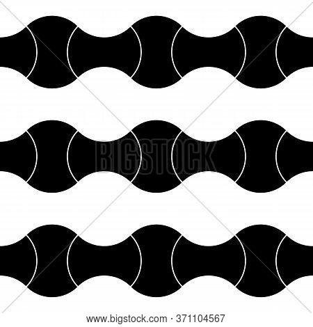 Black Interlocking Blocks Lines On White Background. Seamless Surface Pattern Design With Ethnic Orn