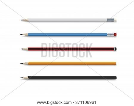 Realistic Vector Set Of Classic Simple Wooden Graphite Pencils.