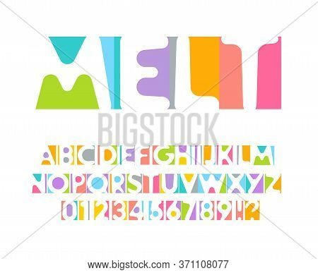 Colorful Letters And Numbers Set. Colored Vector Latin Alphabet. Rainbow Color Font. Color Paper App
