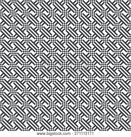 Vector Seamless Pattern. Repeating Modern Geometrical Texture Consisting Of Strips, Small Rhombuses