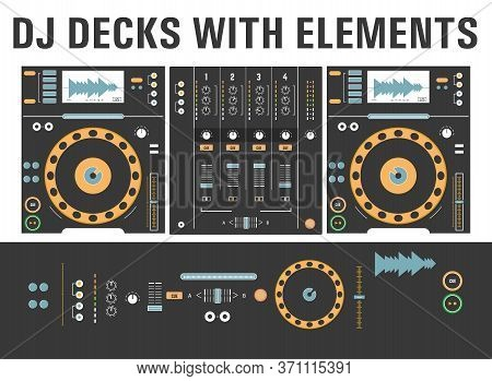 Dj Cd Decks With Isolated Elements. Disk Mixing Player, Mixing Console.