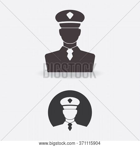 Icon Of An Authority In A Uniform And An Officer Cap. Silhouette Of Security Control, Law Enforcemen