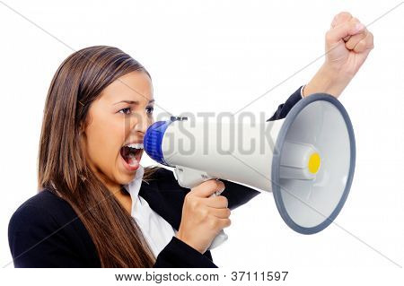 Business woman with megaphone yelling and screaming isolated on white background with suit and high heels