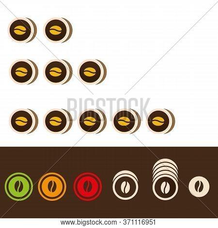 Coffee Beans Roast Level Icons Symbols Vector Illustration.