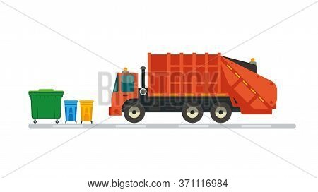 Refuse Truck Picking Up Garbage. Flat Style Vector Illustration.