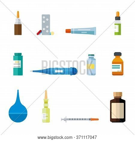 Various Medication And Healthcare Icons. Creme, Salve, Syringe, Syrup, Nasal Spray, Drops, Pills, En