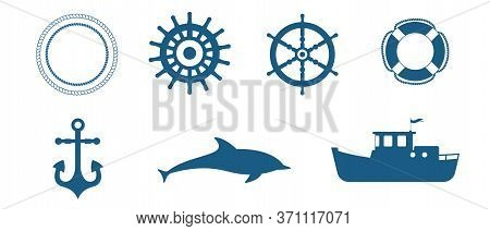 Set Of Various Maritime Elements, Such As Steering Wheels, Life Preserver, Anchor, Dolphin, Tugboat.