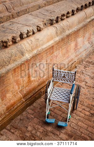 Public wheelchair in Brihadishwarar Temple (Brihadishwara Temple - one of Great Living Chola Temples - UNESCO World Heritage Site), Thanjavur (Tanjore)
