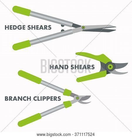 Garden Hand Tools Set Of Branch Clippers, Hand Shears And Hedge Cutters.