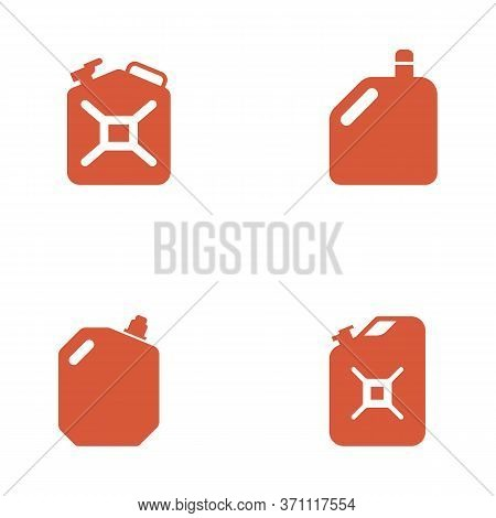 Set Of Four Jerrycan. Gas Or Liquid Container Icons. Bottle For Motor Oil And Other Lubricants. Port