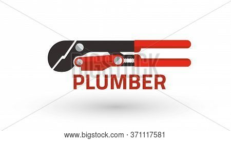 Swedish Plumber Wrench, Pipes Tightening Tool. Plumbing Hand Tool. Vector Illustration Isolated On W