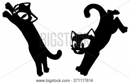 Cat Cartoon Character Pounce Jump And Land Poses Stencil Black, Vector Illustration, Vertical, Isola