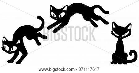 Cat Cartoon Character Thin Slender One Jumping Poses Stencil Black, Vector Illustration, Horizontal,