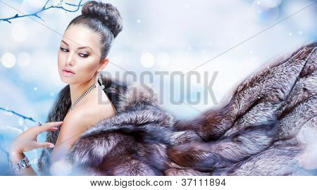 Winter Girl in Luxury Fur Coat. Fashion Fur