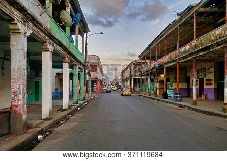 Colon, Panama, 2018.12.10., A Street With Old And Dirty Buildings In Colon.
