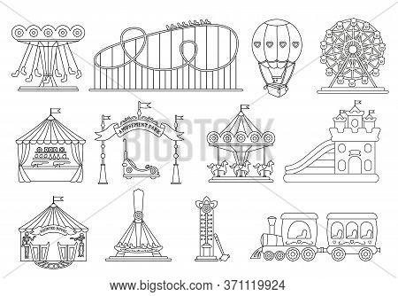 Amusement Park Black Line Silhouette Set. Carousel Cartoon Style. Fairground, Rollercoaster, Carouse
