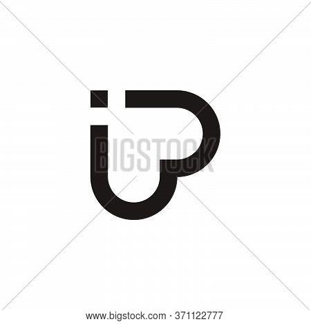Letter Ip Linked Geometric Linear Symbol Logo Vector
