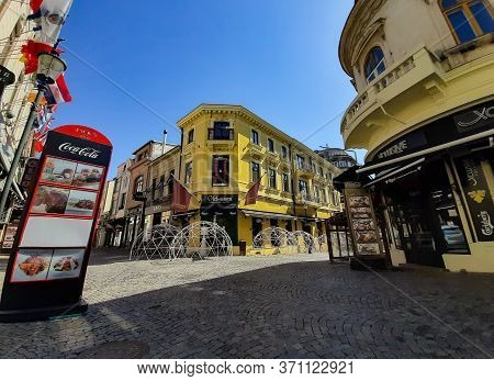Bucharest, Romania - April 07, 2020: Empty Old-style Streets With Houses With A Beautiful Architectu