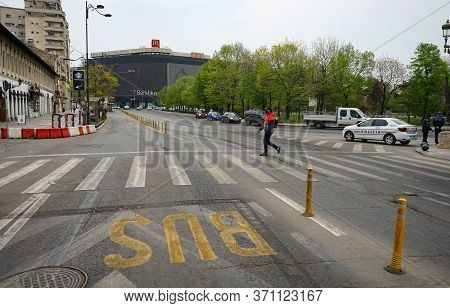 Bucharest, Romania - April 14, 2020: Empty Street In Unirii Square During The State Of Emergency Due