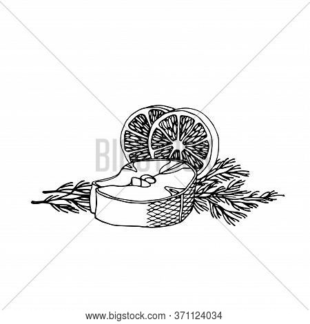 Cod Or Salmon Fish Steak With Lemon Slices And Dill, Decoration For Restaurant Seafood Menu, Vector