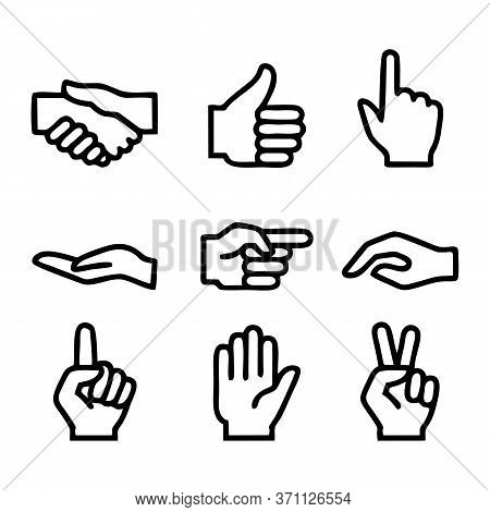 Hands Doodles. Expression Gestures Human Hands Pointing Shaking Vector Hand Drawn Style. Human Gestu