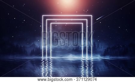 Futuristic Night Landscape With Abstract Landscape And Island, Moonlight, Shine. Dark Natural Scene