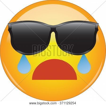 Cool Face Emoji Crying. Yellow Face With A Sad Open Mouth And Of Flowing From Eyes Hidden Behind Sun