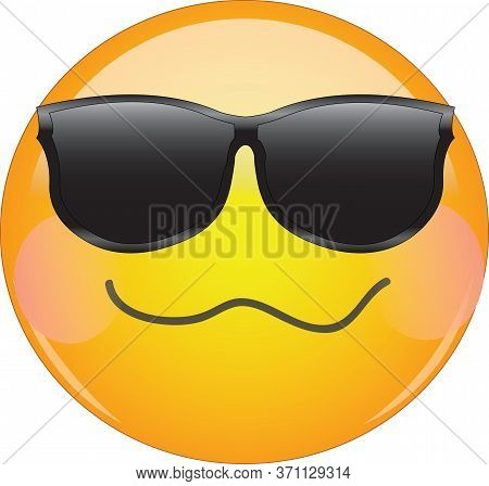 Cool Drunken Blushing Emoji. Yellow Face Emoticon Wearing Sunglasses With A Crumpled Mouth, And Blus