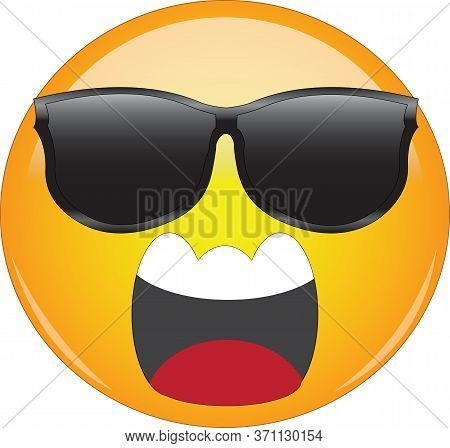 Cool Emoji Screaming In Anger. Yellow Face Emoticon Wearing Sunglasses And Screaming In Anger With W