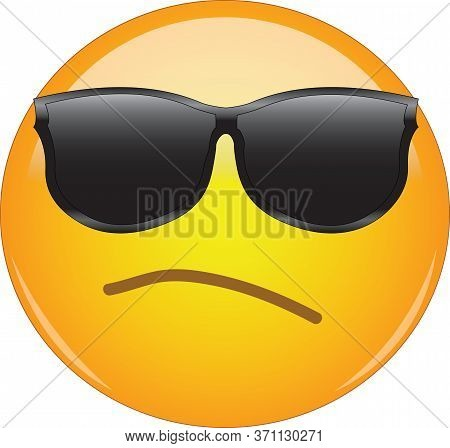 Awesome Snobbish And Arrogant Emoji Wearing Sunglasses. Yellow Face Emoticon Wearing Shades And Havi