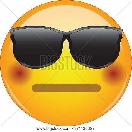 Cool Flushed Neutral Face Emoji. Awesome Yellow Face Emoticon Wearing Sunglasses And Having A Small,