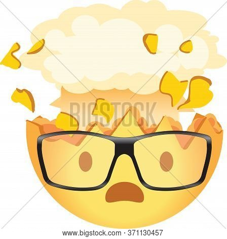 Shocked Emoji Wearing Glasses. Exploding Head Nerd Emoticon. Yellow Face With An Open Mouth, Wearing