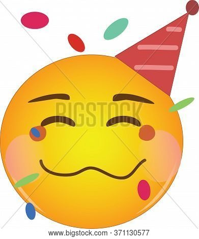 Happy Drunk Emoji At Party. Partying Yellow Drunk Face Emoticon With A Crumpled Mouth, Blushing Chee