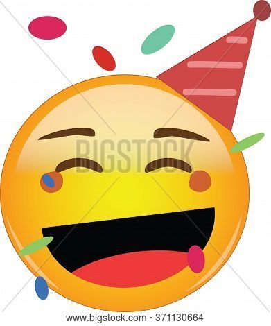 Happy Party Emoji Celebrating Birthday In A Red Hat And Confetti Flying Around! Yellow Face With A R