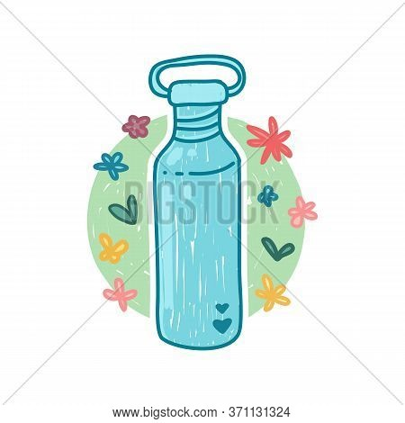 Reusable Stainless Bottle For Water Icon In Cartoon Doodle Style. Zero Waste Life Concept. Hand Draw
