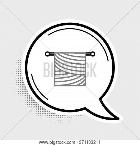 Line Knitting Icon Isolated On Grey Background. Wool Emblem With Knitted Fabric And Needle. Label Fo