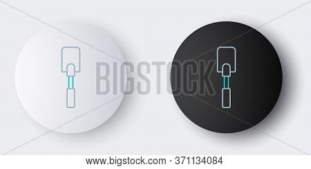 Line Spatula Icon Isolated On Grey Background. Kitchen Spatula Icon. Bbq Spatula Sign. Barbecue And