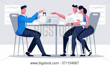 Mortgage Credit Bank Flat Composition With People At Table With Agent Giving Apartment Keys To Clien