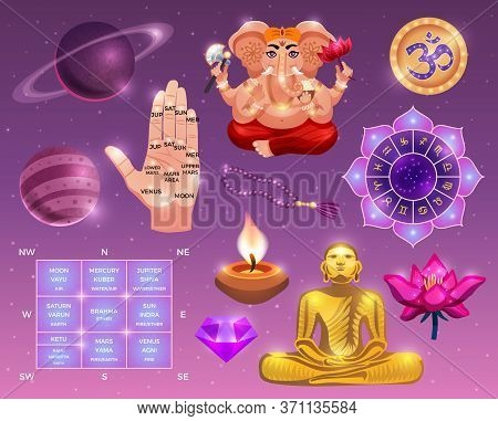 Vedic Astrology Colored Set With Planets Human Palm Painted Lines Occult Symbols And Indian Gods Car