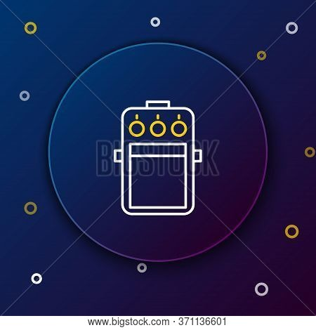 Line Guitar Pedal Icon Isolated On Blue Background. Musical Equipment. Colorful Outline Concept. Vec
