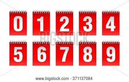 Countdown Clock With Binding Spring - Vector Digits - Red Counter Timer, Time Remaining Count Down S