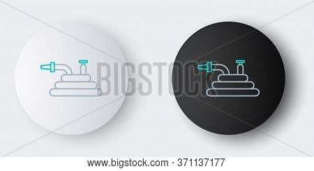 Line Garden Hose Or Fire Hose Icon Isolated On Grey Background. Spray Gun Icon. Watering Equipment.