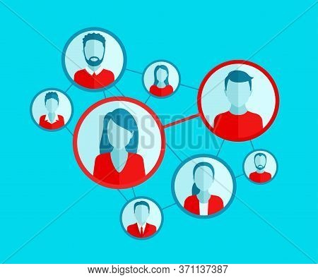 Social Network Or Dating Meeting Website Scheme - Vector Illustration Of People Community With Diffe