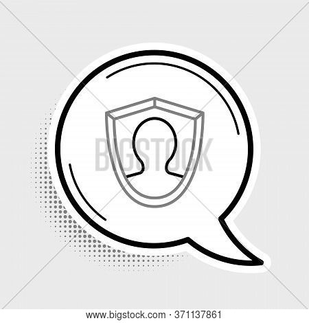 Line User Protection Icon Isolated On Grey Background. Secure User Login, Password Protected, Person