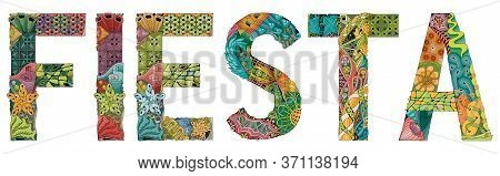 Word Fiesta. Vector Zentangle Object For Decoration