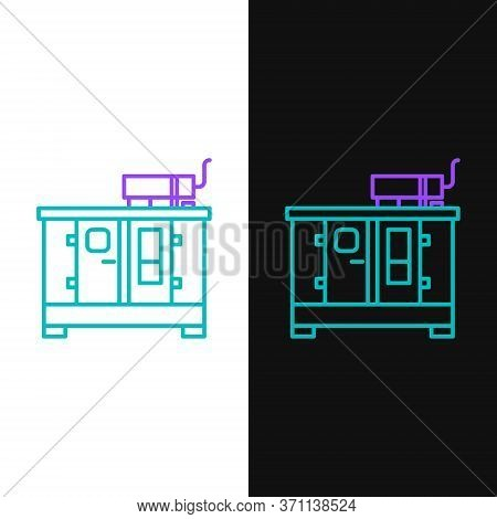 Line Diesel Power Generator Icon Isolated On White And Black Background. Industrial And Home Immovab