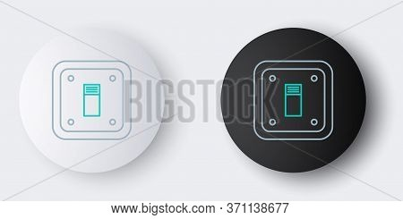 Line Electric Light Switch Icon Isolated On Grey Background. On And Off Icon. Dimmer Light Switch Si