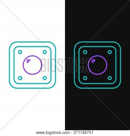 Line Electric Light Switch Icon Isolated On White And Black Background. On And Off Icon. Dimmer Ligh